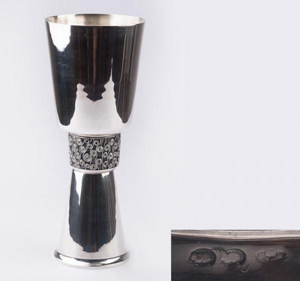 Pocal, cupa, pahar din argint masiv 925 sterling stil Artdeco seccesion Viena cca 1900 deosebit- Raritate!